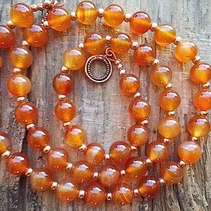 Genuine Carnelian and Copper Bead Necklace, 26''